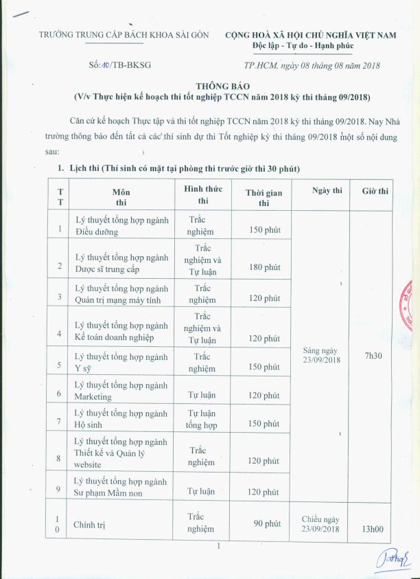 thông báo kế hoạch thi tốt nghiệp tháng 9/2018