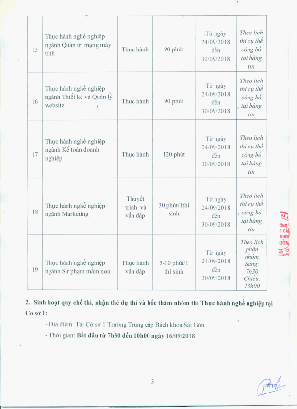 kế hoạch thi tốt nghiệp thanhsg 9/2018