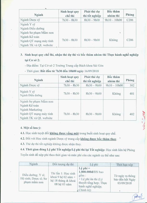 kế hoạch thi tốt nghiệp tháng 9/2018