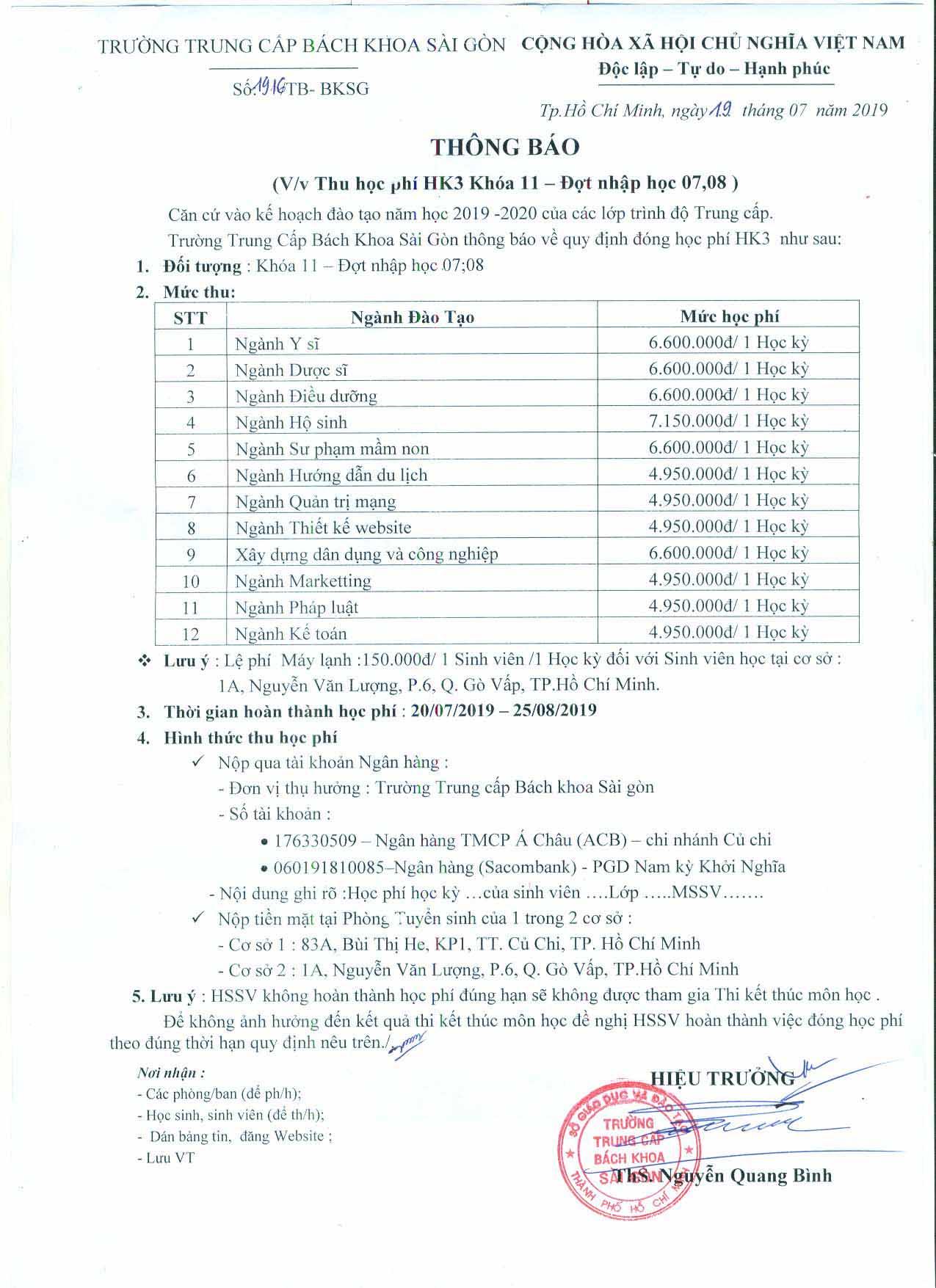 Thông báo học phí HK3 - Khóa 11, đợt 7 & 8