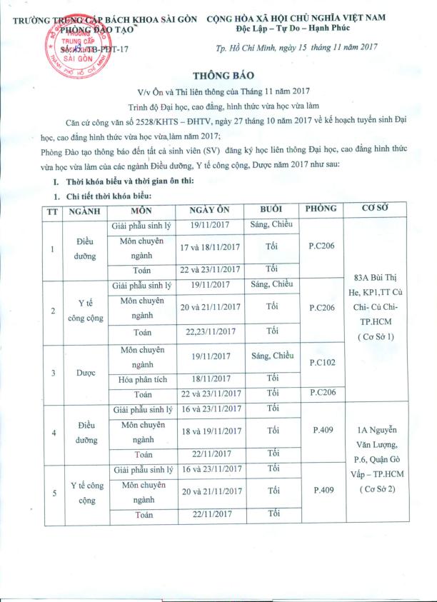 thông báo ôn thi liên thông tháng 11/2017
