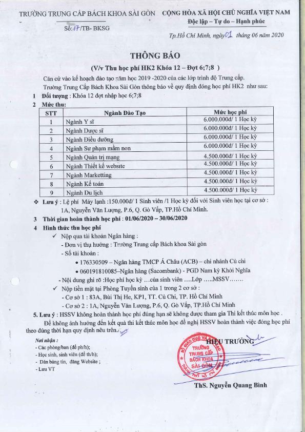 thông báo học phí HK2 khóa 12 bách khoa sài gòn