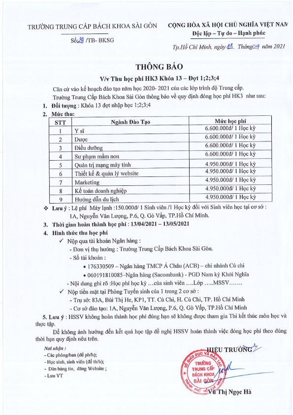 Thông báo học phí hk3 đợt 1234