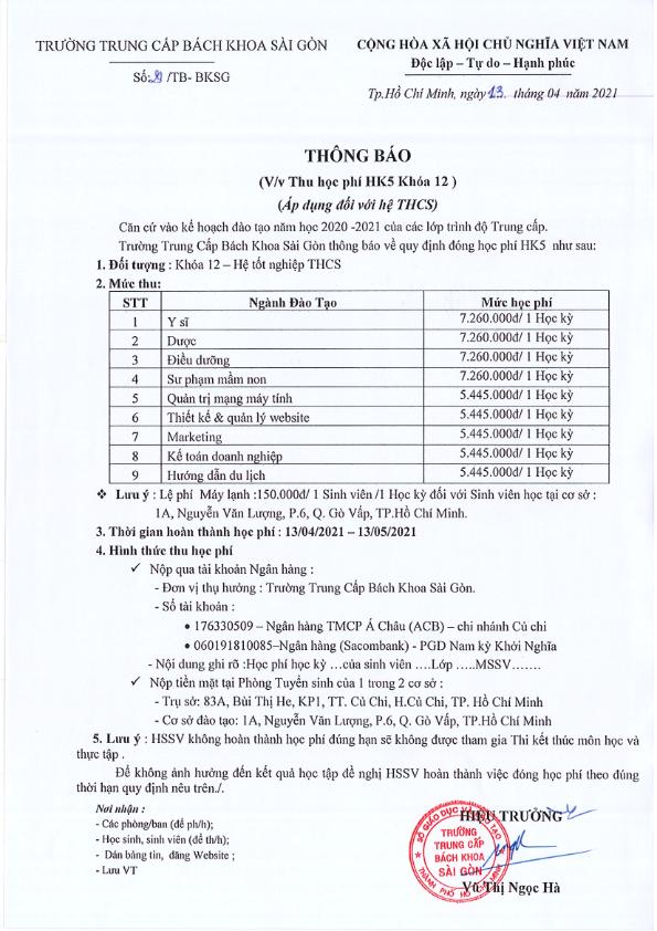 Thông báo học phí học kỳ 5 khóa 12