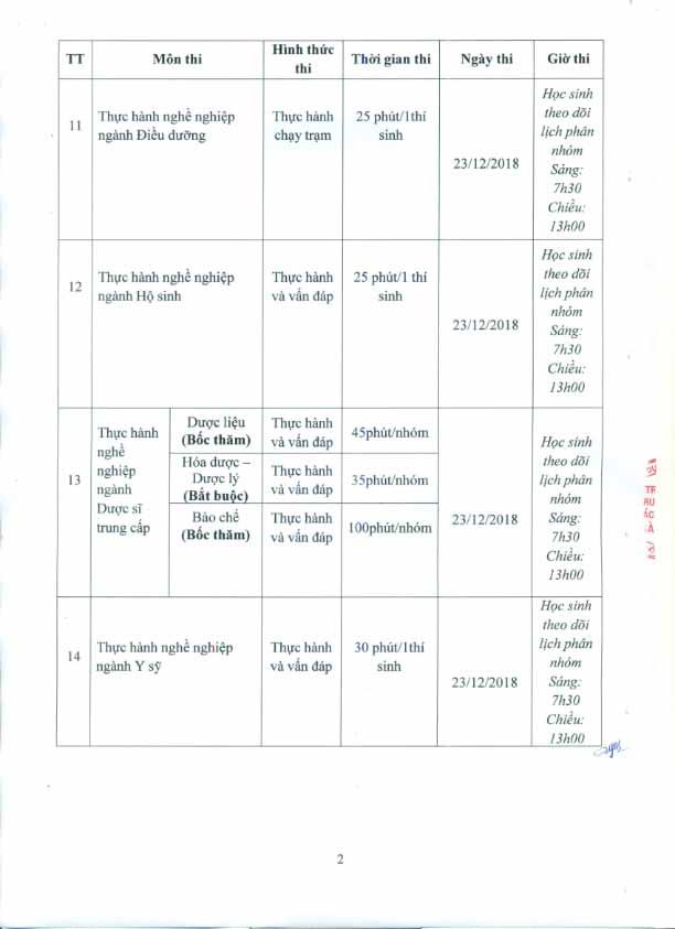 Thông báo kế hoạch thi tốt nghiệp 12/2018